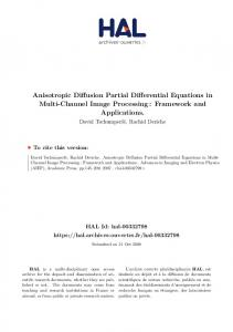 Anisotropic Diffusion Partial Differential Equations in
