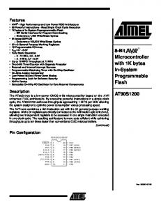 AT90S1200 8-Bit AVR MCU with 1K bytes In-System