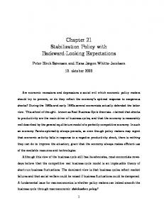 Chapter 21 Stabilization Policy with Backward-Looking