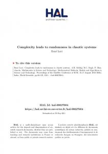 Complexity leads to randomness in chaotic systems  …