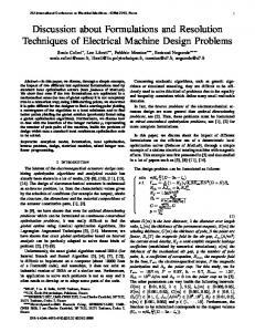 Discussion about Formulations and Resolution …
