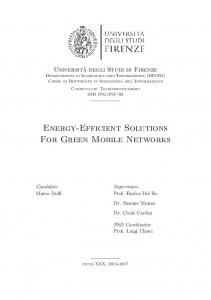 Energy-Efficient Solutions For Green Mobile Networks