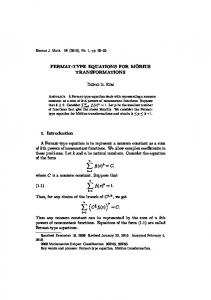 FERMAT-TYPE EQUATIONS FOR MOBIUS˜ …