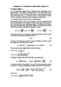 Solutions to Problems in Solid State Physics II Problem …