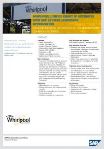 WHIRLPOOL UNIFIES CHART OF ACCOUNTS WITH SAP …